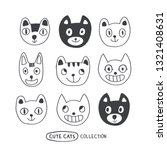 funny doodle outline cats faces ... | Shutterstock .eps vector #1321408631