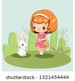 cute girl and rabbit for easter'...   Shutterstock .eps vector #1321454444