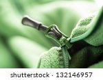 closeup of zipper opening green ... | Shutterstock . vector #132146957