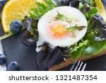 fried egg with bread toast on...   Shutterstock . vector #1321487354