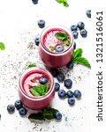 purple homemade yogurt or... | Shutterstock . vector #1321516061