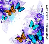 Blue Floral Abstraction With...