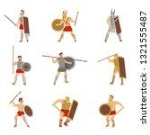 set of roman warriors fighting...   Shutterstock .eps vector #1321555487