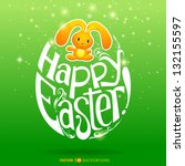 happy easter greeting card... | Shutterstock .eps vector #132155597