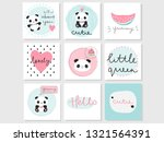 set of 9 vector adorable cards... | Shutterstock .eps vector #1321564391