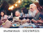 happy family eating and... | Shutterstock . vector #1321569221