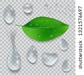 set of water drops and green... | Shutterstock .eps vector #1321576697
