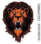 roaring lion head mascot. label.... | Shutterstock . vector #1321598801