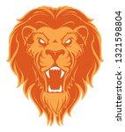 roaring lion head mascot. label.... | Shutterstock . vector #1321598804
