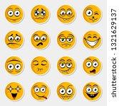 sticker set of cute happy... | Shutterstock .eps vector #1321629137