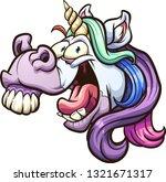 crazy cartoon unicorn head...   Shutterstock .eps vector #1321671317