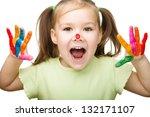 portrait of a cute cheerful... | Shutterstock . vector #132171107