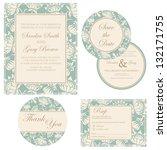 wedding invitation set  thank... | Shutterstock .eps vector #132171755