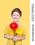 laughing boy with bouquet... | Shutterstock . vector #1321749401