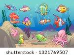 underwater scene. cute sea... | Shutterstock .eps vector #1321769507