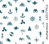 seamless marine pattern | Shutterstock .eps vector #132177911
