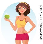 healthy fitness girl | Shutterstock .eps vector #132178871