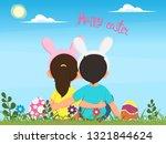children in rabbits costumes... | Shutterstock .eps vector #1321844624