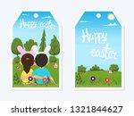 children in rabbits costumes... | Shutterstock .eps vector #1321844627