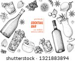 alcoholic cocktails hand drawn... | Shutterstock .eps vector #1321883894