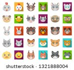 muzzles of animals cartoon flat ... | Shutterstock .eps vector #1321888004