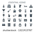 Cocktail Icon Set. 30 Filled...