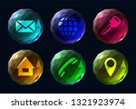 six polygonal colorful buttons...