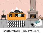 cozy vector interior in... | Shutterstock .eps vector #1321950371