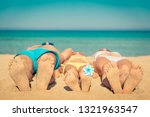 happy family on summer vacation.... | Shutterstock . vector #1321963547