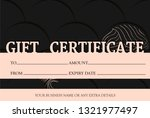 voucher template with pink gold ...   Shutterstock .eps vector #1321977497