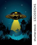 background with flying ufo ... | Shutterstock . vector #1322035241