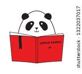 cute little panda reading book. | Shutterstock .eps vector #1322037017
