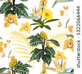 tropical exotic yellow flowers... | Shutterstock .eps vector #1322066444