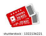 two red cinema tickets on white ...   Shutterstock .eps vector #1322136221
