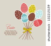 Easter floral design with eggs, holiday card with bouquet of eggs - stock vector