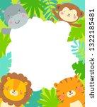 cute safari cartoon animals and ... | Shutterstock .eps vector #1322185481