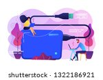 tiny business people at laptops ... | Shutterstock .eps vector #1322186921