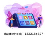 tiny people at big smartphone... | Shutterstock .eps vector #1322186927