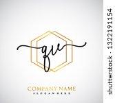 qv initial handwriting logo... | Shutterstock .eps vector #1322191154