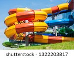 water park with closed slides... | Shutterstock . vector #1322203817
