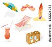 vector beach set from chaise... | Shutterstock .eps vector #132226085