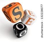 seo orange black dice blocks on ... | Shutterstock . vector #132228077