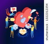volunteering concept. a team of ... | Shutterstock .eps vector #1322312354