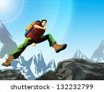 man with backpack jump in... | Shutterstock . vector #132232799