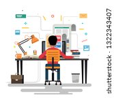 blogger and blogging. creation... | Shutterstock .eps vector #1322343407