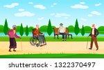 old people walking park....   Shutterstock .eps vector #1322370497
