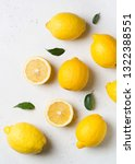 ripe lemons flat lay with... | Shutterstock . vector #1322388551