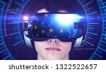 young man wearing vr headset... | Shutterstock . vector #1322522657