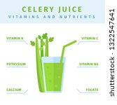 fresh celery juice in glass ...   Shutterstock .eps vector #1322547641