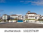 View to the Ponta Delgada city from marina, San miguel island, Azores, Portugal - stock photo